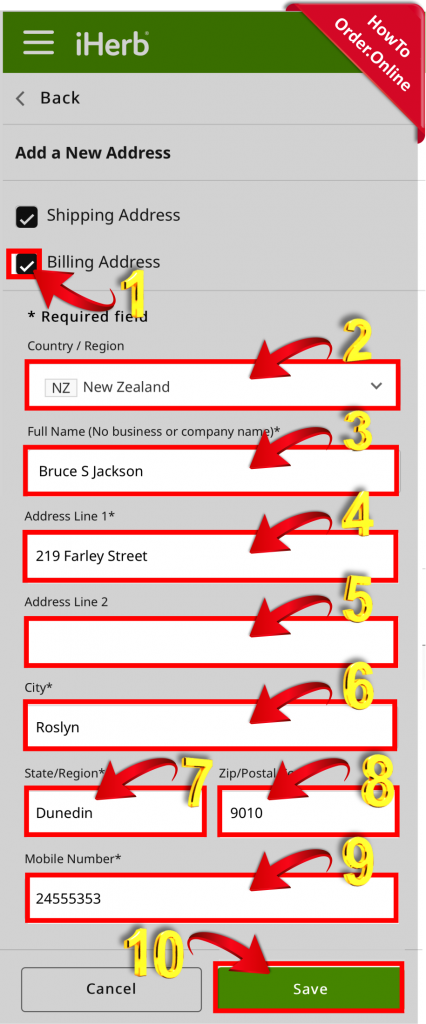 12-filling your data in iherb address fields_Mobile Screenshot_US