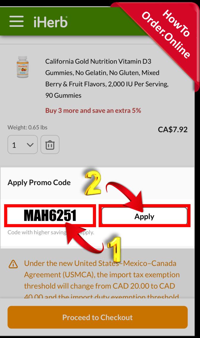 20-Add iherb promo code in cart_Mobile Screenshot_CA