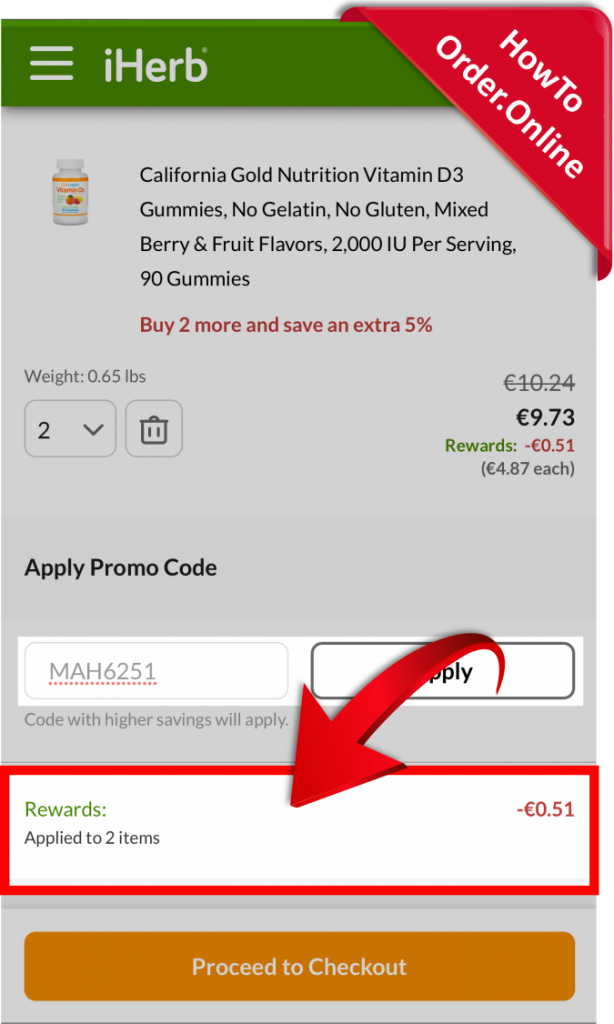 21-getting discount after adding the iherb promo code